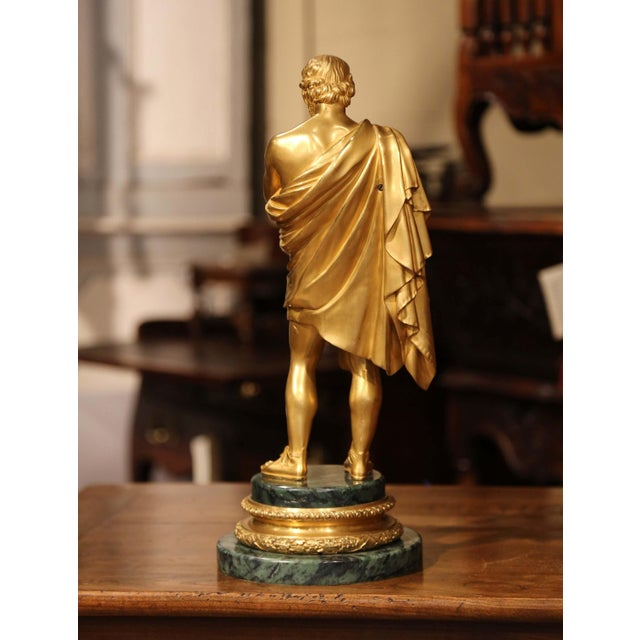 Mid-19th Century French Bronze Dore Sculptor Figure on Green Marble Base For Sale - Image 11 of 13