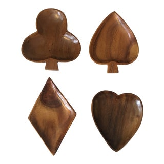 Card Suit Monkey Pod Wood Appetizer Bowls - Set of 4 For Sale