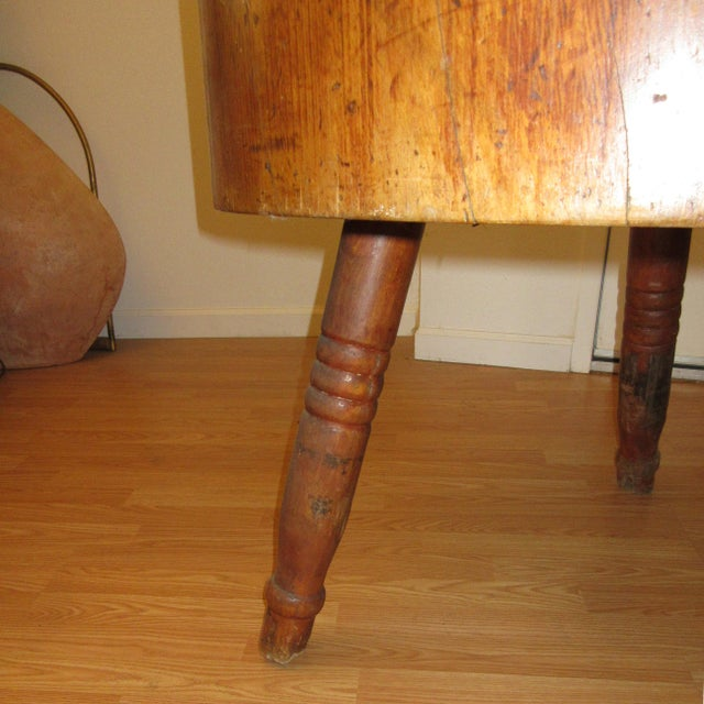 Butcher Block Table Early 19th Century American For Sale - Image 4 of 6