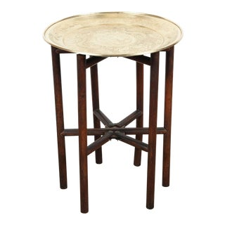 Brass Tray Side Table on Folding Stand For Sale