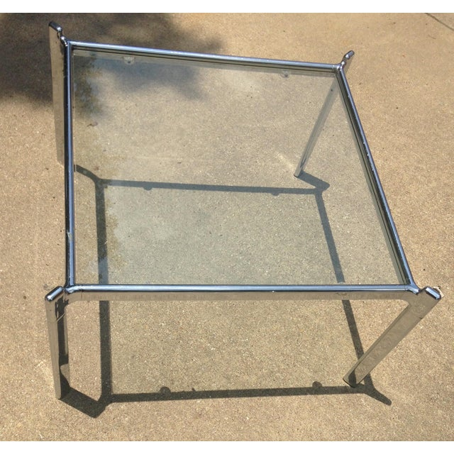 Mid Century Modern Heavy Chrome & Glass Table - Image 4 of 4