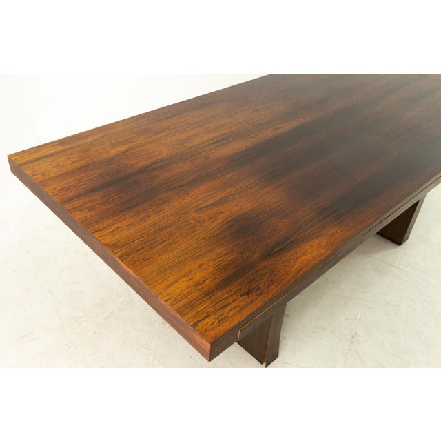 Edward Wormley for Dunbar Mid Century Rosewood and Bronze Executive Desk For Sale - Image 9 of 10