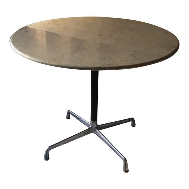 Herman Miller Eames Marble Top Aluminum Pedestal Table For Sale
