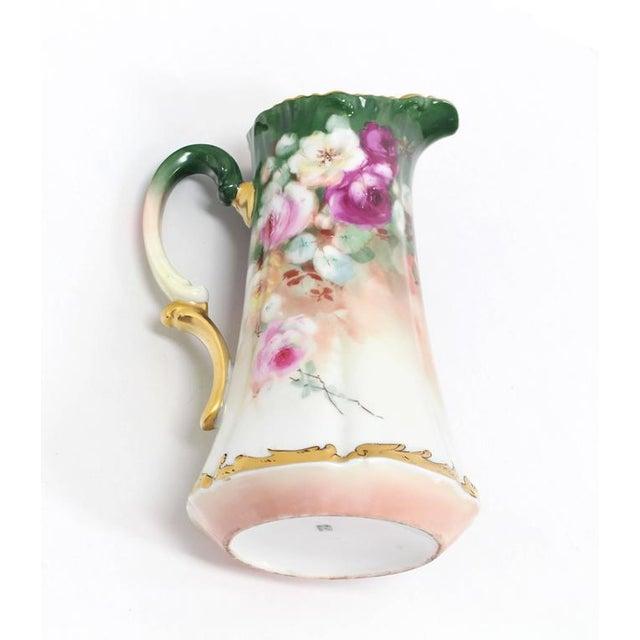 Pink T&V France Floral Vase Shape Flower Painted Porcelain Pitcher For Sale - Image 8 of 8