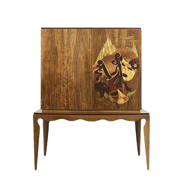 1940´s Small Two Blocks Dry Bar, walnut, allegorical scene marquetry - Italy For Sale