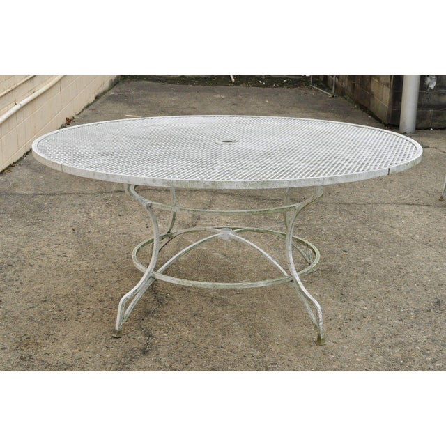 Late 20th Century Vintage Cast Aluminum Scroll Arm Metal Patio Dining Table & Chairs - Set of 7 For Sale - Image 4 of 13