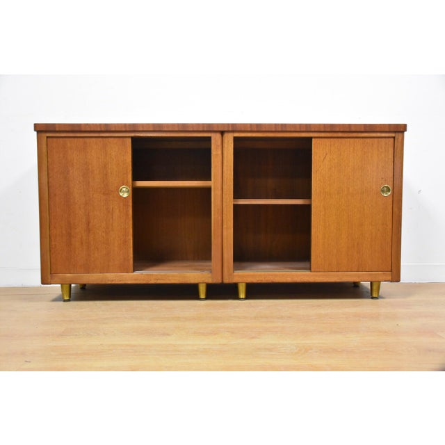 Walnut and Brass Tv Console Credenza - Image 4 of 11