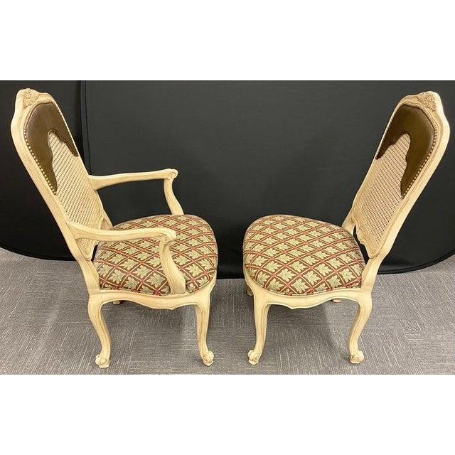 Late 20th Century Set of 14 Louis XV Style Pickled Distress Dining Chairs For Sale - Image 5 of 13