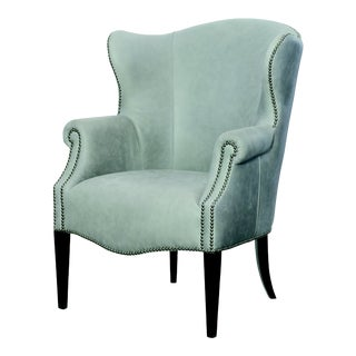 Century Furniture Dukane Wing Chair, Stone Leather For Sale