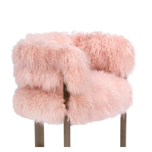 Interlude Home Darcy Chair - Blush Sheepskin For Sale - Image 4 of 5