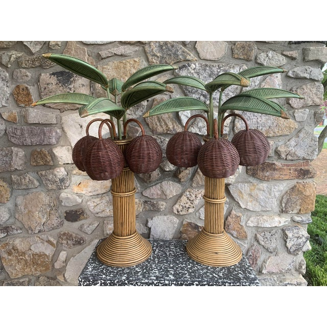 1960s Mario Lopez Palm Tree Table Lamps With Coconuts - a Pair For Sale In Charlotte - Image 6 of 6