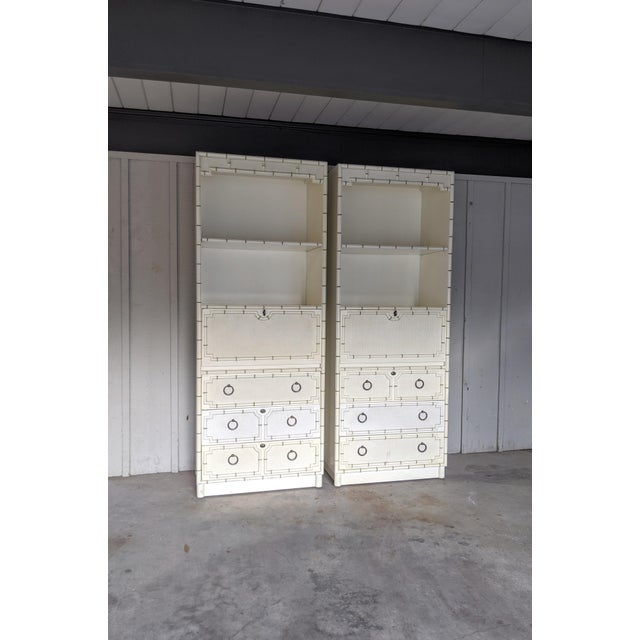 Metal Drexel Kensington Faux Bamboo Secretary Cabinets, a Pair For Sale - Image 7 of 12
