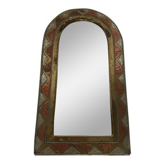 Vintage Hammered Copper and Brass Mirror