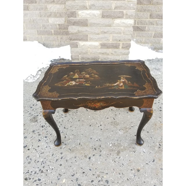 Rare antique hand painted and lacquered Victorian English tea table with chinoiserie motif and cabriolet queen Anne...