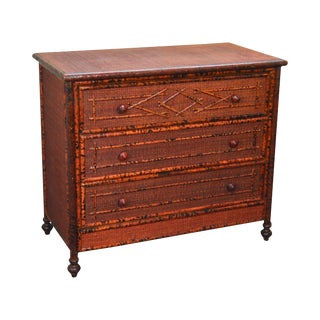 Burnt Bamboo & Wicker Rattan Vintage Chest of Drawers Dresser