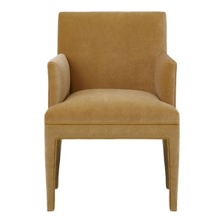 Upholstered Dining Armchair in Camel Velvet