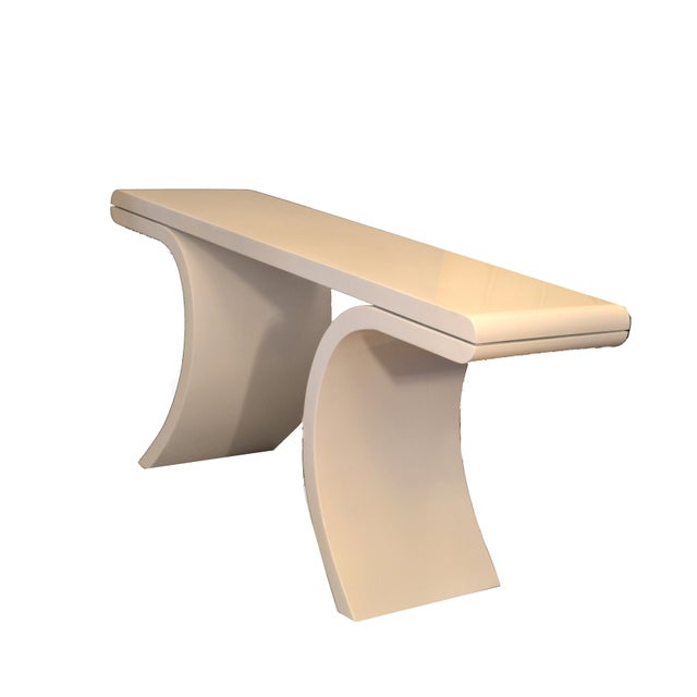 Hollywood Regency Hollywood Regency White Lacquer Console Table With Curved Legs For Sale - Image 3 of 11