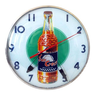 1950s Vintage Sun Crest Soda Bubble Glass Wall Clock For Sale