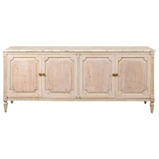 Buffet Console With Marble Top and Cool Tones, Mid-20th Century For Sale