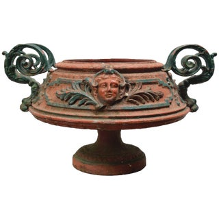 Antique 19th Century Cast Iron Italian Urn With Fancy Handles For Sale