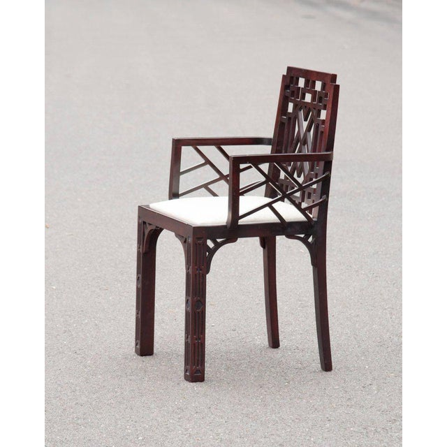 Gorgeous Chinese Chippendale Style Fretwork Dining Chairs - Set of 6 - Image 4 of 10