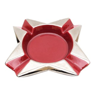 1970s Vintage Jaru Red & Silver Ceramic Starburst Bowl For Sale