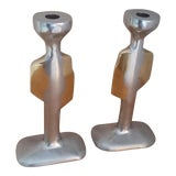 Image of 1970s David Marshall Brutalist Candlesticks - a Pair For Sale