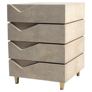 Henry Bedside Table in Cream Shagreen and Bronze-Patina Brass by R&y Augousti For Sale