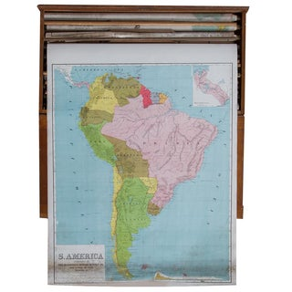 Vintage Pull Down Map of South America For Sale
