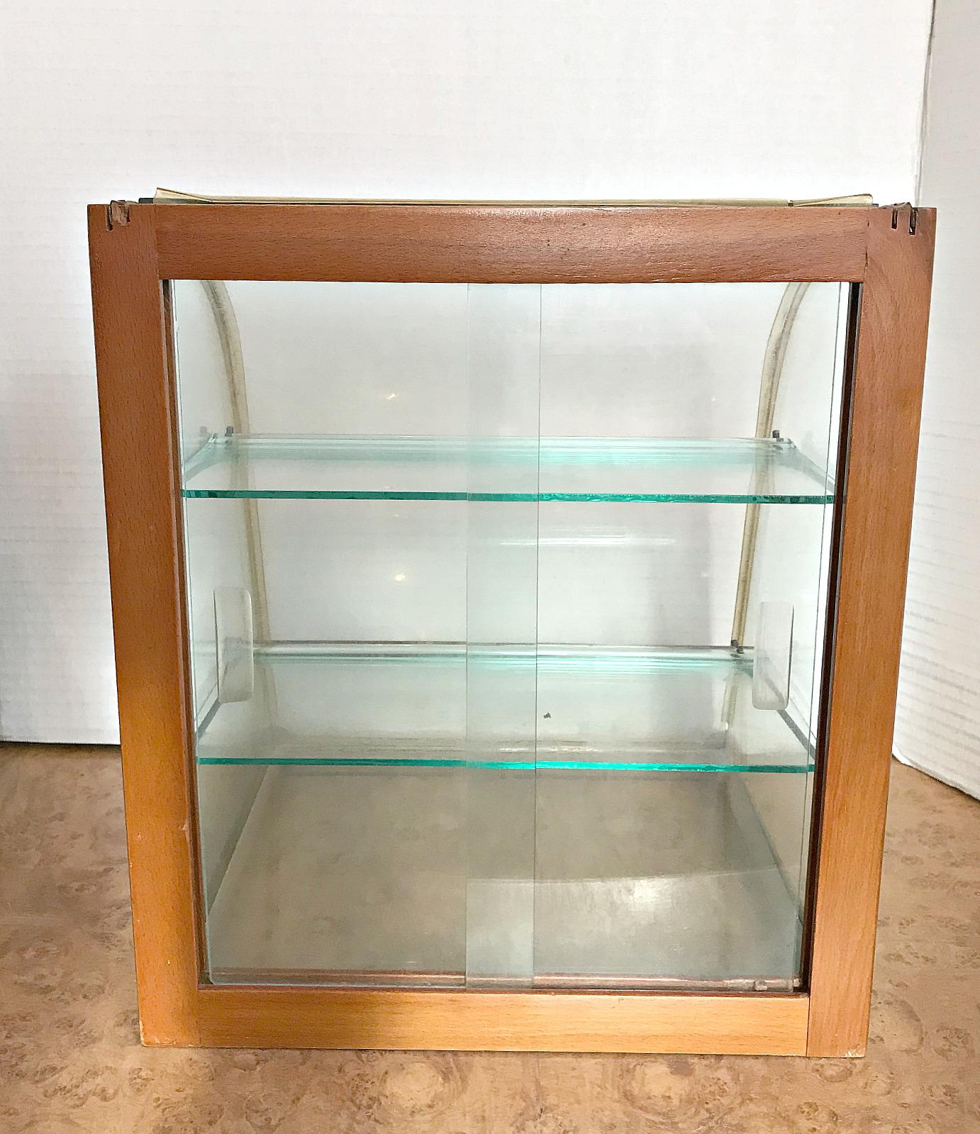 Vintage Mercantile French Display Curved Glass Display Cabinet. Two Sliding  Glass Doors In Back.