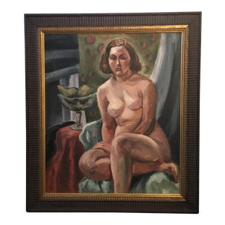 1920s Impressionism Framed Oil Painting of Nude Woman