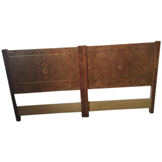 Greek Key Inlay Burl Twin Headboards- A Pair For Sale