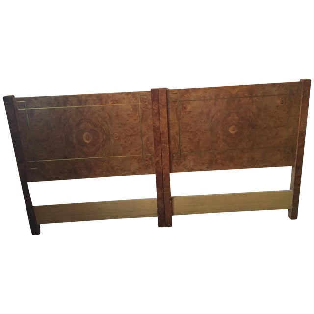 Greek Key Inlay Burl Twin Headboards- A Pair - Image 1 of 12