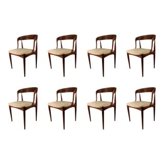 Vintage Mid Century Johannes Andersen Dining Chairs- Set of 8 Inc. Reupholstery For Sale