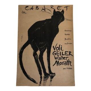 """Original Hans Falk """"Cat Cabaret"""" Poster, Voli Geiler, Walter Morast, Circa 1949 For Sale"""