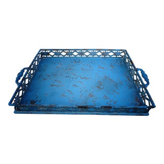 1960s Mid-Century Modern Cast Iron Ice Blue Serving Tray For Sale
