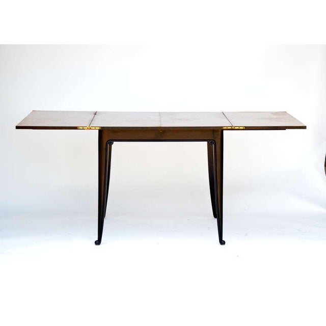 1940s Chic Ebonized French 1940s Folding Center or Dining Table For Sale - Image 5 of 10