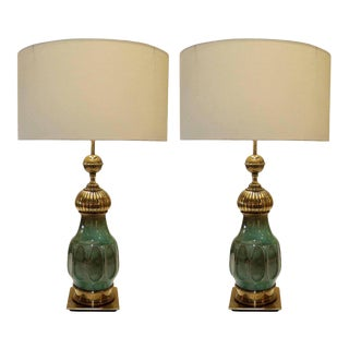 Esmeralda Craquelure Ceramic and Bronze Table Lamps - A Pair For Sale