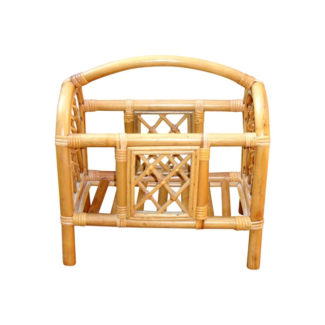 Mid-Century Bamboo Bentwood Rattan Magazine Rack For Sale