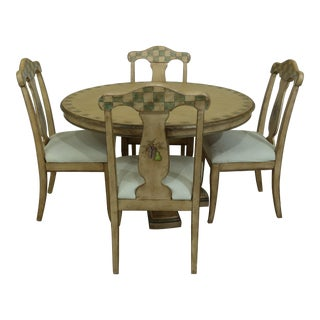 Pulaski Paint Decorated Round Table & Chairs Dining Set For Sale