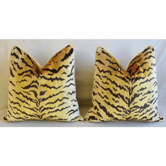 """Scalamandre Le Tigre Tiger Silk Velvet Feather/Down Pillows 23"""" Square - Pair For Sale In Los Angeles - Image 6 of 10"""