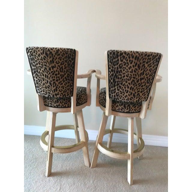 Leopard Print Swivel Bar Stools- A Pair - Image 4 of 6