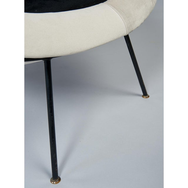 1950s Vintage Velvet and Lacquered Metal Egg Chairs- A Pair For Sale - Image 9 of 10