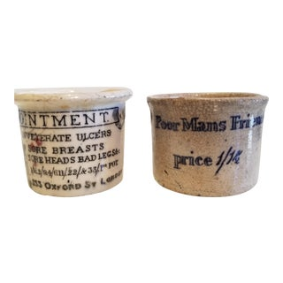 """19th Century Cheeky """"Sore Breasts"""" & """"Poor Mans Friend"""" Crocks - a Pair For Sale"""