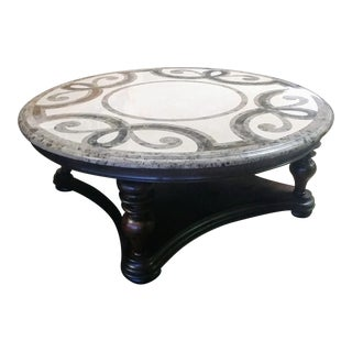Thomasville Furniture Hills of Tuscany Round Stone Top Cocktail Table For Sale