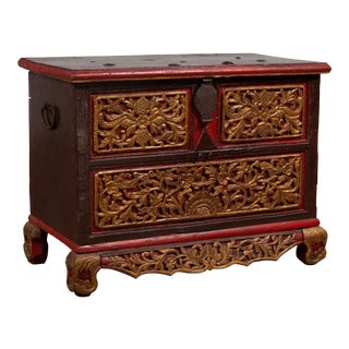 Antique Madura Hand Carved Wooden Blanket Chest with Red, Brown and Gilt Accents For Sale