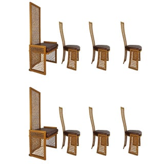 Set of 8 Dining Chairs with French-Caning: Vivai Del Sud for Casa Bella ,1980s For Sale