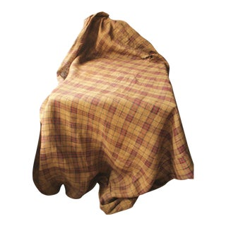 French Primitive Rustic Plaid Jute Hessian Mattress Cover For Sale