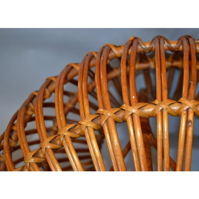 Vintage Franco Albini Hand-Woven Rattan / Wicker Ottoman Pouf For Sale - Image 9 of 12