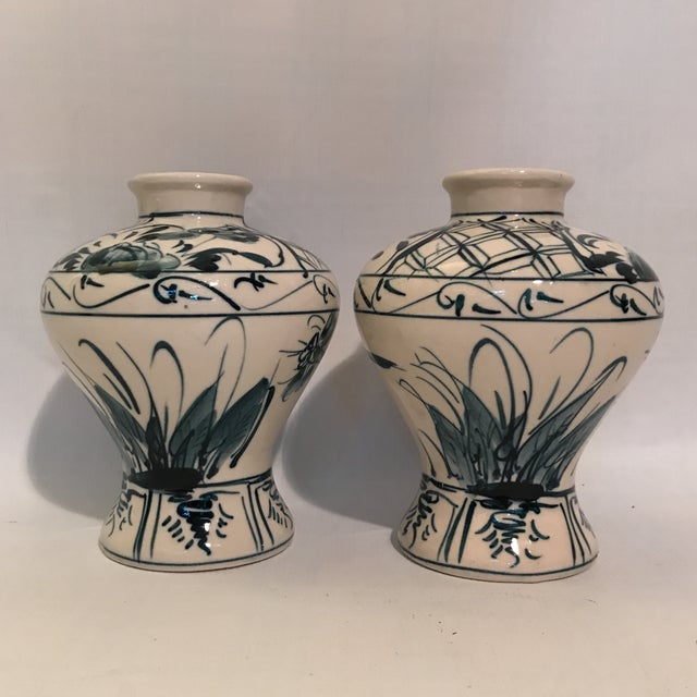 Asian Hand Painted Blue and White Porcelain Vases - a Pair For Sale - Image 3 of 12